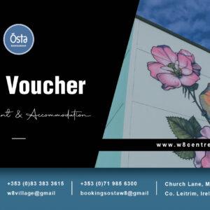 Online Gift Voucher for Osta W8 Restaurant or W8 Village – accommodation, culture and innovation – Manorhamilton, Ireland.