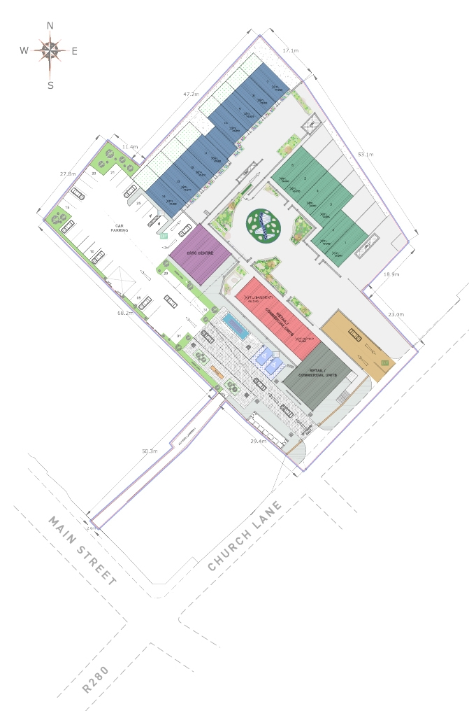 W8 Centre Site Map, Services include W8 Village holiday accommodation, Osta restaurant, Culture and Innovation - Manorhamilton, Ireland.