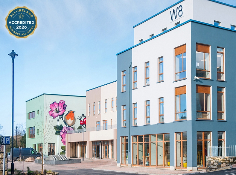 W8 Centre, view of site from Church Lane street side, W8 Village holiday accommodation, Osta restaurant, culture and innovation - Manorhamilton, Ireland.