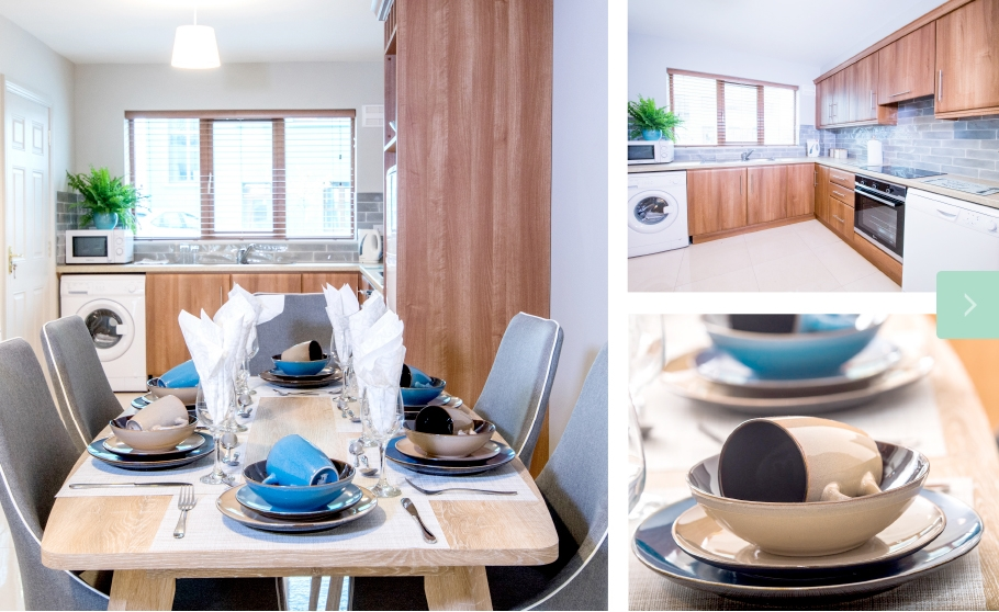 W8 Village Holiday Homes at W8 Centre, kitchen and dining table, Osta restaurant, culture and innovation - Manorhamilton, Ireland.