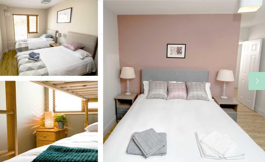 W8 Village Holiday Homes at W8 Centre, master bedroom, second bedroom, third bedroom, Osta restaurant, culture and innovation - Manorhamilton, Ireland.